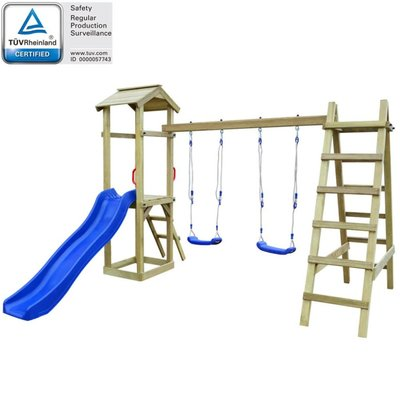 Speelhuis met ladder en schommels 286x237x218 cm FSC grenenhout