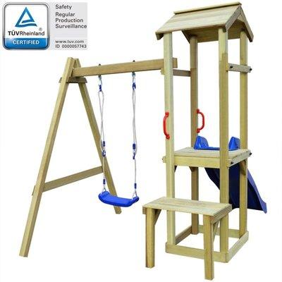 Speelhuis met glijbaan en schommel 228x168x218cm FSC grenenhout