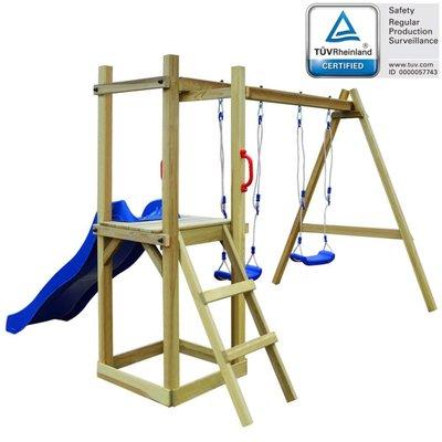 Speelhuis met glijbaan en schommel 242x237x175cm FSC grenenhout