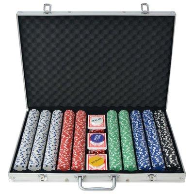 Pokerset met 1000 chips aluminium