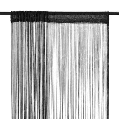 Draadgordijnen 100x250 cm zwart 2 st