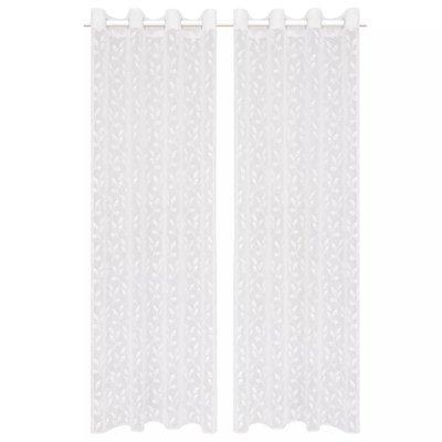 Glasgordijnen warp-gebreid 140x175 cm bladeren wit 2 st