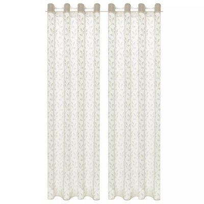 Glasgordijnen warp-gebreid 140x175 cm bladeren crème 2 st