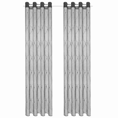 Glasgordijnen geborduurd 140x175 cm grijs 2 st