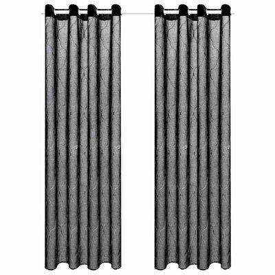 Glasgordijnen geborduurd 140x175 cm zwart 2 st