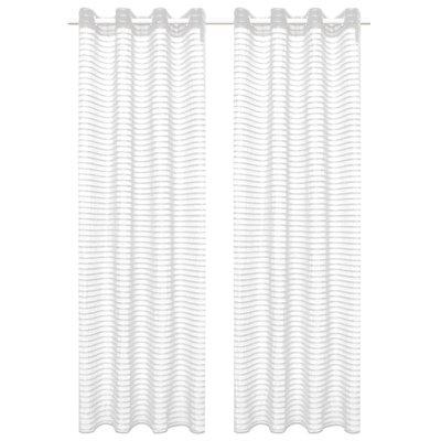 Glasgordijnen geweven gestreept 140x175 cm wit 2 st