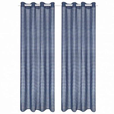 Glasgordijnen geweven gestreept 140x175 cm blauw 2 st