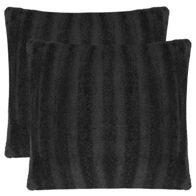 Kussenslopen zwart 40x40 cm nepbont 2 st