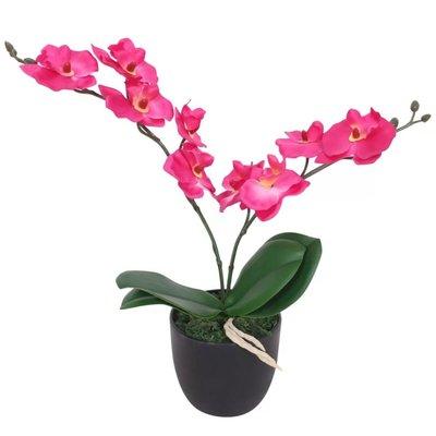 Kunst orchidee plant met pot 30 cm rood