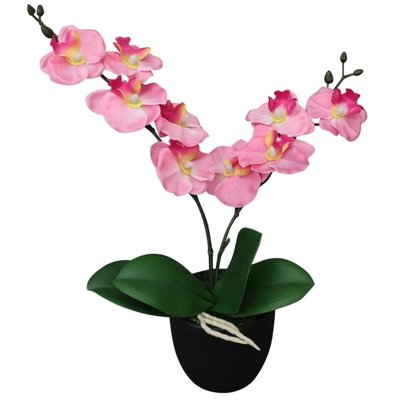 Kunst orchidee plant met pot 30 cm roze