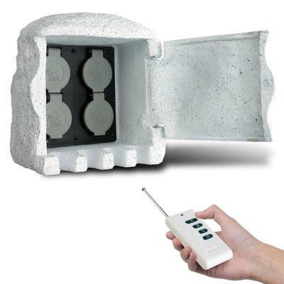 Buitenstopcontact kunststeen met afstandsbediening