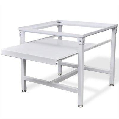 Wasmachineverhoging met uittrekbare plank wit