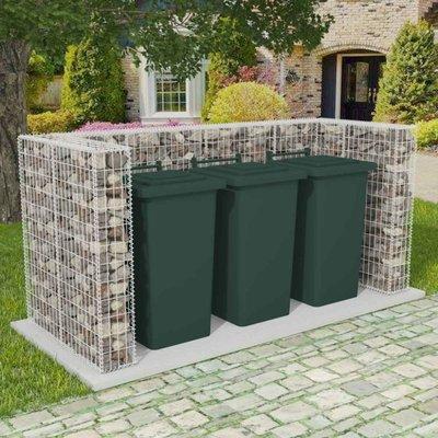 Schanskorf drievoudige vuilnisbak ombouw 250x100x120 cm staal