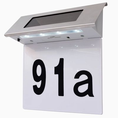 LED huisnummer op zonne-energie roestvrij staal
