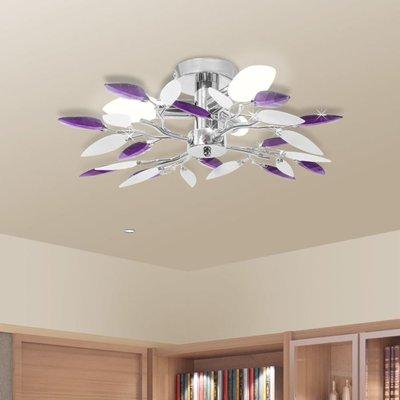 Plafondlamp witte en paarse acryl kristal bladeren 3xE14