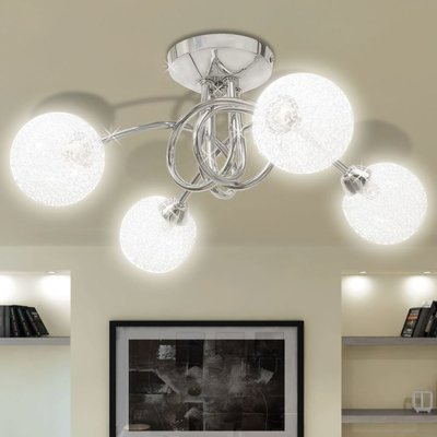 Plafondlamp met gaasdraad kappen voor 4 x G9 peertjes