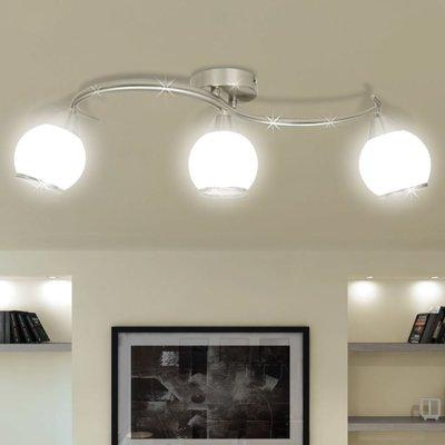 Plafondlamp glazen kappen + golvende rail voor 3 x E14 peertjes
