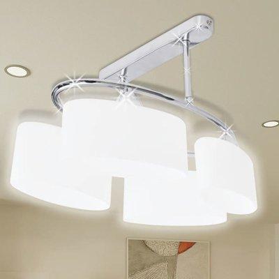 Plafondlamp met ellips glazen kapjes (4 x E14)