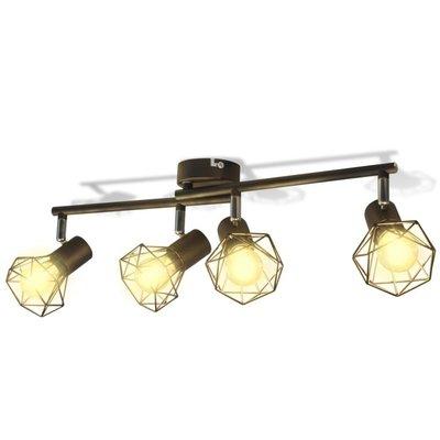 Lamp in industriële stijl met 4 LED spotjes, zwart