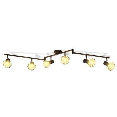 Lamp in industriële stijl met 6 LED spotjes, zwart