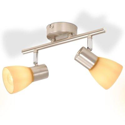 Plafondlamp met 2 spotlights E14 zilver