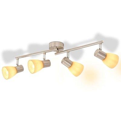 Plafondlamp met 4 spotlights E14 zilver