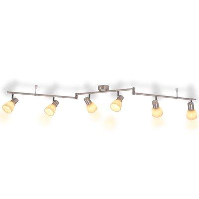 Plafondlamp met 6 spotlights E14 zilver