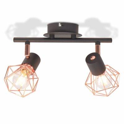 Plafondlamp met 2 spotlights E14 zwart en koper