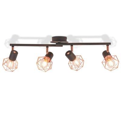 Plafondlamp met 4 spotlights E14 zwart en koper