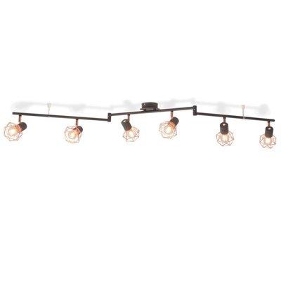 Plafondlamp met 6 spotlights E14 zwart en koper