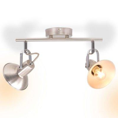Plafondlamp voor 2 peertjes E14 zilver