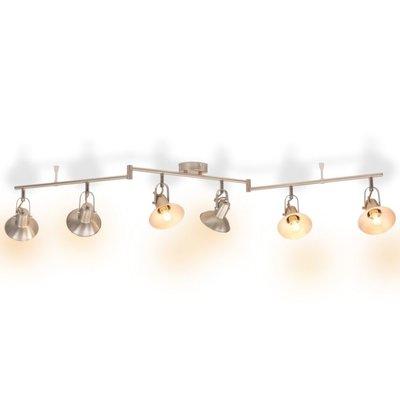 Plafondlamp voor 6 peertjes E14 zilver
