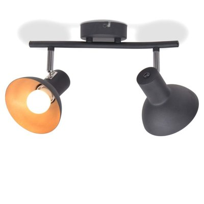 Plafondlamp voor 2 peertjes E27 zwart en goud
