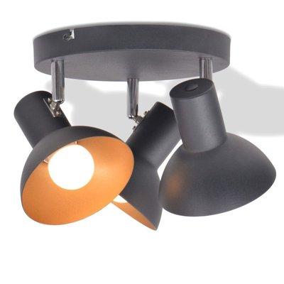 Plafondlamp voor 3 peertjes E27 zwart en goud