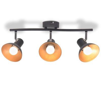 Plafondlamp voor 3 peertjes recht E27 zwart en goud