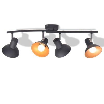 Plafondlamp voor 4 peertjes E27 zwart en goud