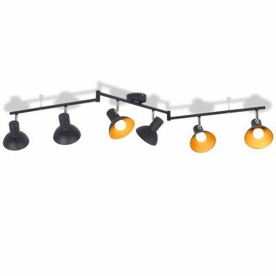 Plafondlamp voor 6 peertjes E27 zwart en goud