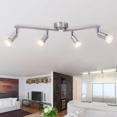 plafondlamp met 4 led-spotlights satijn nikkel