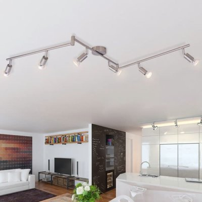 plafondlamp met 6 led-spotlights satijn nikkel