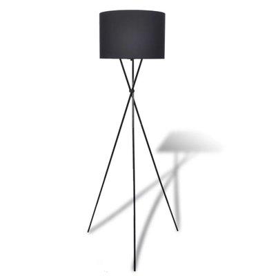 Lampenkap voor vloerlamp met hoge standaard zwart