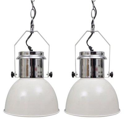 Plafondlampen in hoogte verstelbaar modern metaal wit 2 st
