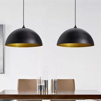 Plafondlampen in hoogte verstelbaar halfrond zwart 2 st