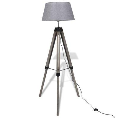 Vloerlamp met verstelbare voet hout en stoffen lampenkap grijs