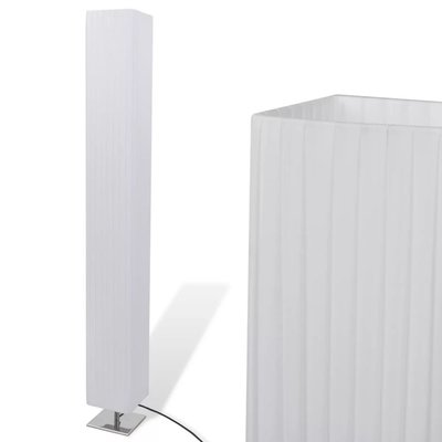 Vierkante Staande Lamp met RVS onderstel en PE Kap Wit