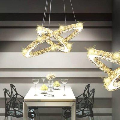 Hanglamp kristal dubbele ring LED 23,6 W