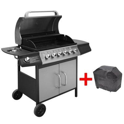 Gasbarbecue 6+1 kookzone zwart en zilver