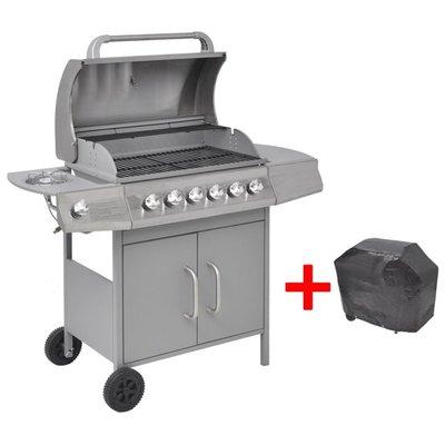 Gasbarbecue 6+1 kookzone zilver