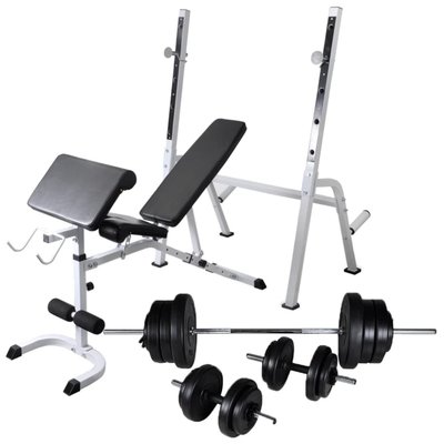 Trainingsbank met gewichtenrek en halterset 60,5 kg