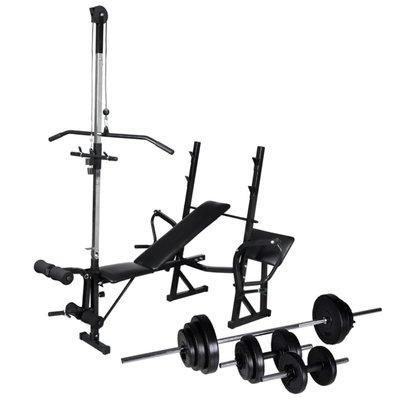 Trainingsbank met gewichtenrek en halterset 30,5 kg