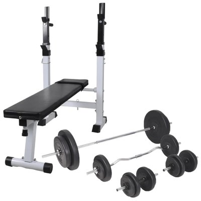 Trainingsbank met gewichtenrek en halterset 90 kg